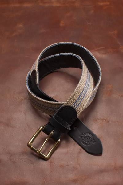 Jute Strap belt, reverse side and tail ends genuine black leather