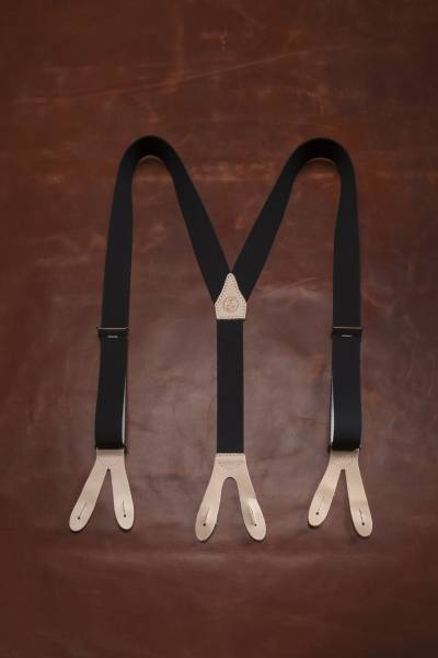EHRENVOLL SUSPENDERS, 35mm wide, black with leather in colour nature
