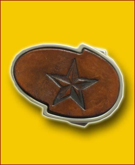 GÜRTELSCHNALLE - NAUTICAL STAR handgefertigt- braun