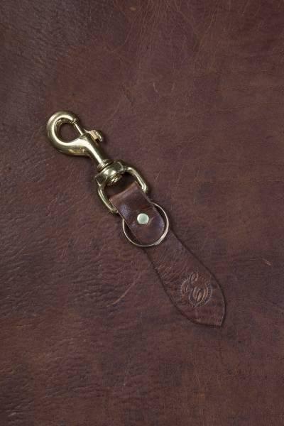 Schlüsselanhänger aus antikem Leder, dunkelbraun