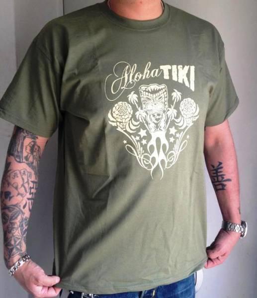 T-SHIRT TIKI Aloha Tiki oliv