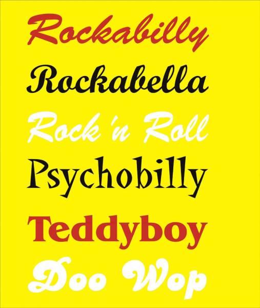 Aufkleber Schriftzug Rockabilly u. a., div. Farben, mittel