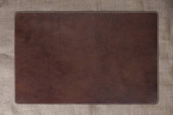 Schreibunterlage groß, aus antikem Leder, gesteppt mit Ziernaht