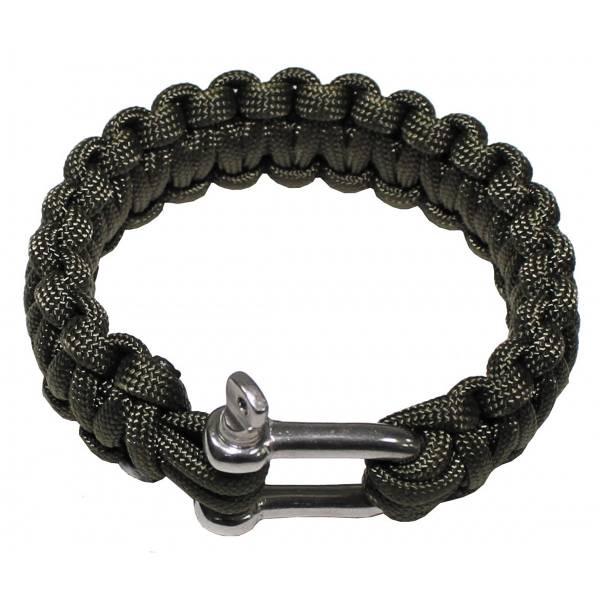 Armband, Paracord, oliv, Metallverschluss, Breite 2,3 cm