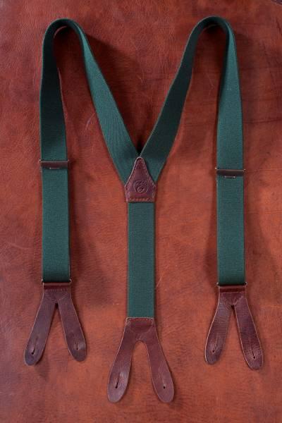 EHRENVOLL HOSENTRÄGER, 35mm breit, grün mit antikem Leder