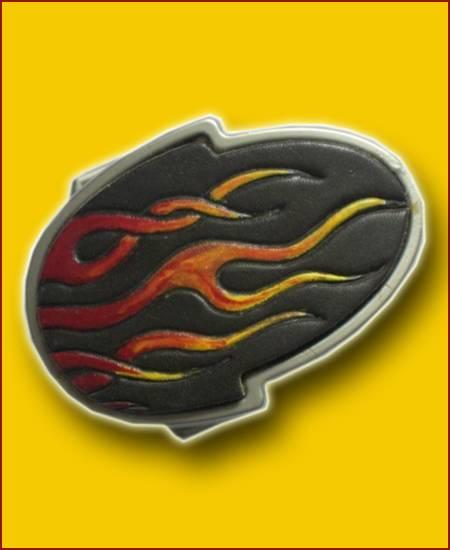 GÜRTELSCHNALLE - FLAMMEN handgefertigt - schwarz klein