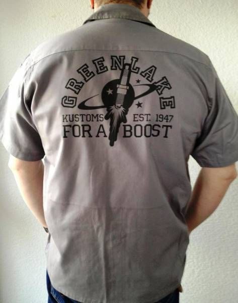 "Workershirt ""Greenlake Kustoms for a boost"" / grey"