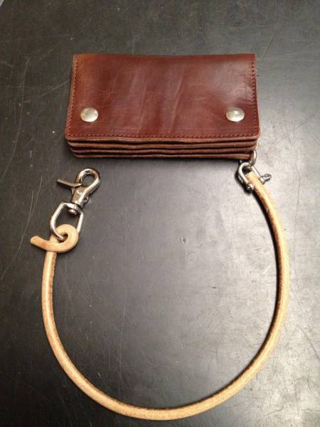 Wallet - Lanyard , genuine Leather, nature, stainless steel shackle