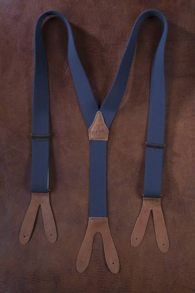 EHRENVOLL SUSPENDERS, 35mm wide, blue with antique brown leather