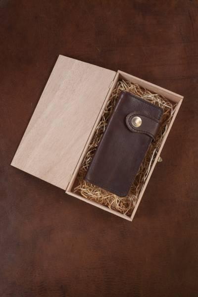 GELDBÖRSE groß, aus antikem Vollrindleder, Druckknopf 50 Pfennig-Stück