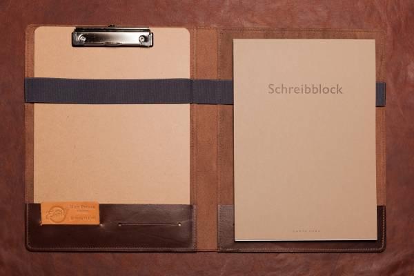 SCHREIBMAPPE aus dunkelbraunem Vollrindleder mit Klemmbrett und hochwertigem Din A4 Schreibblock
