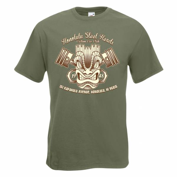 T-SHIRT TIKI Honolulu Steel Heads olivgrün