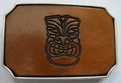 BUCKLE - TIKI FACE handcrafted - brown
